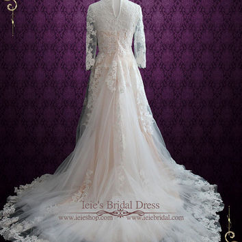 Modest Blush Lace Wedding Dress with Long Sleeves   Charmine