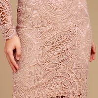 Keep it Moving Mauve Lace Pencil Skirt