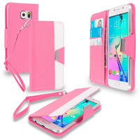 Light Pink Wallet Pouch Metal Flap Case Cover for Samsung Galaxy S6