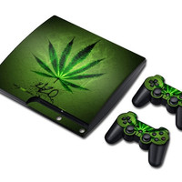 Green Vinyl Decal Skin Sticker for PS3 Slim /layStation 3 Slim with 2 Controller Skins-(slim-1124) = 1946161284