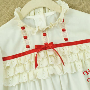 Girls white nightgown , Christmas nightgown , Victorian nightgown , Clara , red ribbon , toddler nightgown long sleeve ready to ship size 5