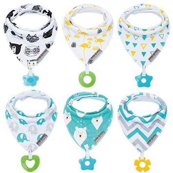 Baby Bandana Drool Bibs and Teething toys Made with 100% Organic Cotton, Super Absorbent and Soft 6-Pack Unisex ( Vuminbox )