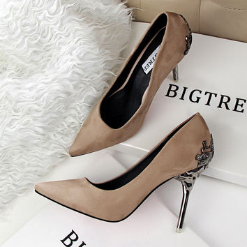 Spring Summer Women High Heels Shoes Pointed Matel Heel Pumps elegant Sexy Heeled Shoes Carved Metal Office Wedding Shoes G1723