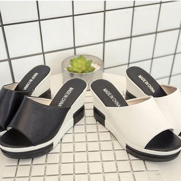 Summer Women Fashion High-Heeled Sandals Thick Bottom Sandals Wedge Slippers COU