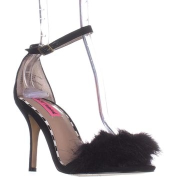 Betsey Johnson Harpur Fuzzy Toe Ankle Strap Sandals, Black, 8.5 US