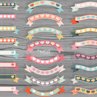 #retro #ribbon #banner #clip art set, decorative, hearts, Valentine, wedding, candy colors, for card, invitation, scrapbooking, PNG, digital