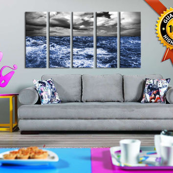 Large Wall Art Canvas 5 Panels Storm in Ocean, Large Art Canvas for Wall Decor, Framed Ocean  Prints On Canvas, 100% Quality Prints - MC169