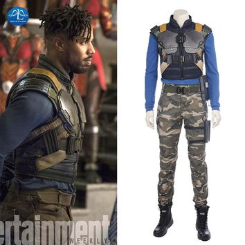 Cool MANLUYUNXIAO New Movie Black Panther Costume Erik Killmonger Cosplay Costume Halloween Costumes For Men Full Set Custom MadeAT_93_12