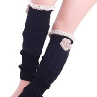 Winter Warm Knitted Leg Warmers with Side Flower