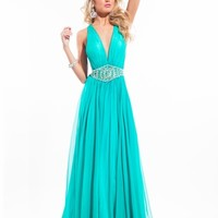 Deep V-Neck Open Back Prom Dress By Rachel Allan Princess 2822