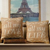 All My Love - All My Life - French Flea Market Burlap Accent Throw Pillow Set - 8-in x 8-in