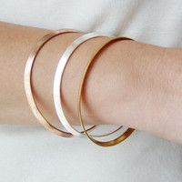 Thin silver and gold bangles, three stacking, brass  bangles in silver, yellow and pink gold plating