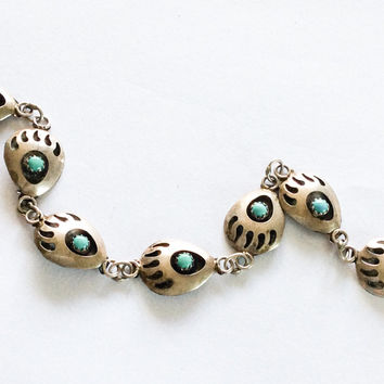 Turquoise Bracelet Native American Sterling Silver Shadow Box Vintage Jewelry