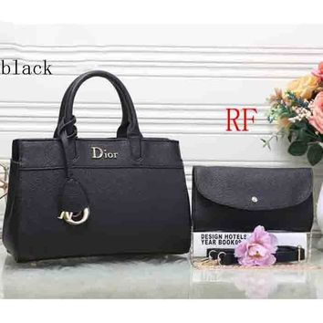 Dior 2018 latest leather female trendy handbag shoulder bag (Two sets) F-RF-PJ black