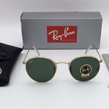 RAY-BAN Sunglasses ROUND METAL Lennon Gold Frame RB 3447 001 Green Lens 50mm