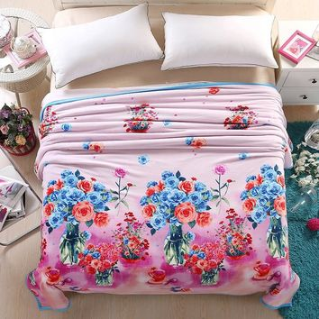 Colorful flowers vases  summer throw multifunctional blankets coral fleece bedsheet multisize soft plaid bedspread linens
