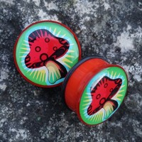 "Halftone acrylic mushroom plugs in 25mm, 1"". Never worn, only ..."