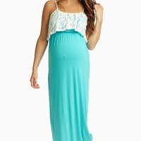 Jade Ivory Lace Overlay Maternity Maxi Dress