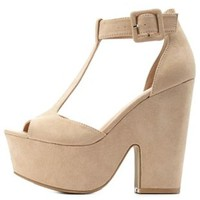 Natural T-Strap Chunky Platform Heels by Charlotte Russe