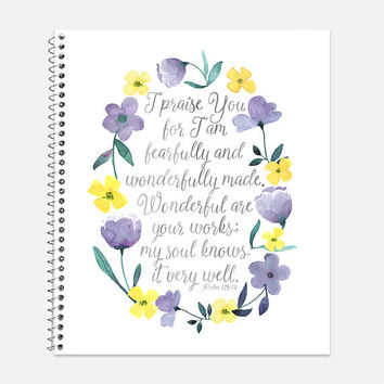 Psalm 139:14 Notebook, Waterproof Cover, Fearfully and Wonderfully Made Notebook, Back to School Supplies, Bible Journal, College Ruled