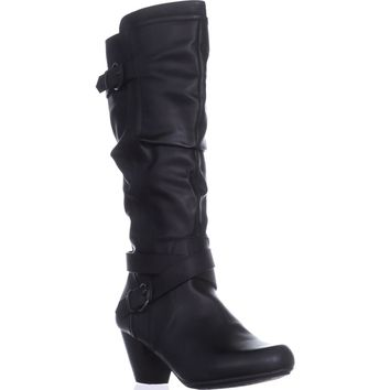 Rialto Crystal Knee High Slouch Boots, Black, 7.5 US
