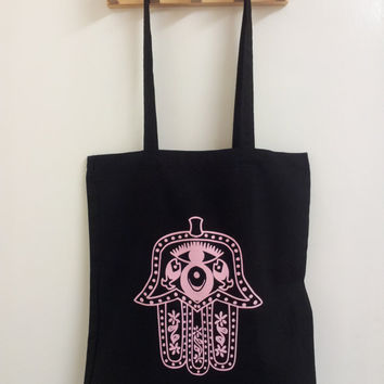 Egyptian/Turkish Hand in Baby Pink on Black Cotton Tote Bag