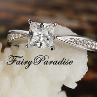 Classy 0.5 Ct Princess Cut (5 mm)  lab made Diamond Pave Band Solitaire Engagement Wedding Ring with gift box- made to order