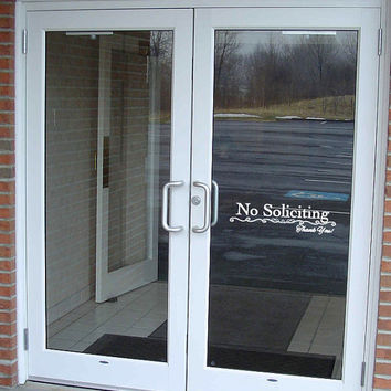 No Soliciting Vinyl Decal for Door or Window - Different Sizes