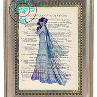 Pale Purple Fairy Art Beautifully Upcycled Vintage Dictionary Page Book Art Print, Fantasy Art Print