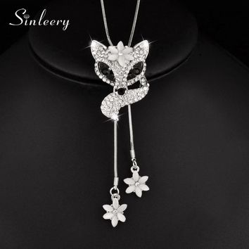SINLEERY Lovely Rhinestone Fox Necklace Adjusted Double Line Opal Flower Pendant For Women Animal Jewelry Accessories MY049 SSE