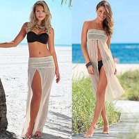 Sexy Bikini Swimwear Cover Up Beach Dress Mesh Hollow Crochet Slit Skirt
