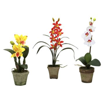 Artificial Flowers -Potted Orchid Mix -Set Of 3 Arrangement No3 Silk Plant