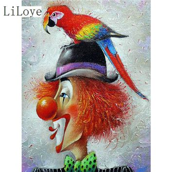 5D Diamond Painting Clown and Parrot Kit