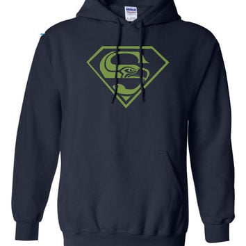 Navy Premium Custom 1 Color Seattle Seahawks Superfan Superteam Superman Hoodie Hooded Sweatshirt All sizes Ladies Mens Unisex Adult Child