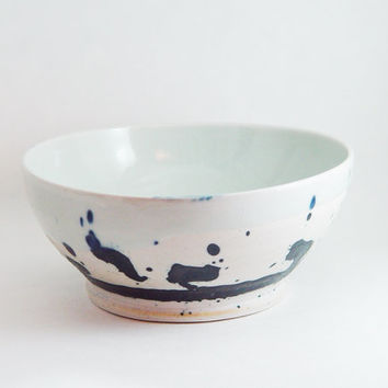 "Porcelain Serving Bowl, Silver Grey & Indigo Blue colors, ""Ink Splash"", Kitchen Soup dish Cereal 6 inch, Wheel Thrown pottery ceramic"