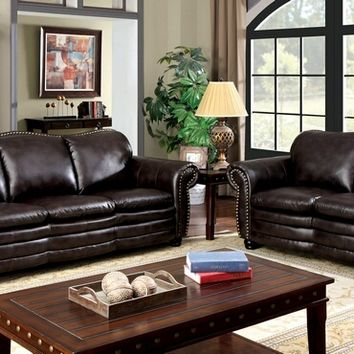 Furniture of america CM6311 2 pc benedict collection dark brown leatherette upholstered sofa and love seat set with rounded arms and nail head trim