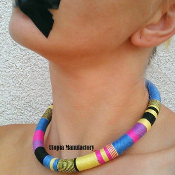 Edith, Choker, African Necklace, African Jewelry, Colorful Necklace, Rope Necklace, Gift For Her, Tribal Necklace, African Choker, Necklaces