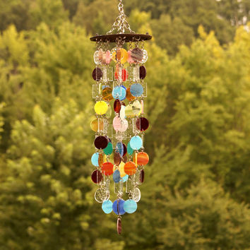 Stained Glass - Colored Glass - Wind Chimes - Sun Catcher - OOAK - Grooven