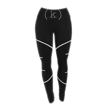 "KESS Original ""Simple Black Monogram"" Yoga Leggings"