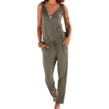 Women's Olive Green Casual V-Neck Zipper Accent Sleeveless Pantsuit Romper Leisure Set with Pockets