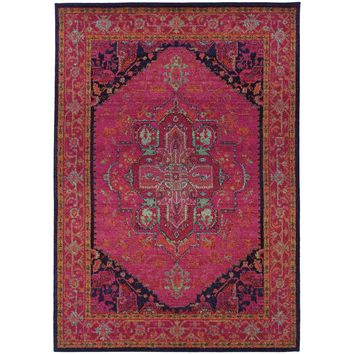 Kaleidoscope Pink Blue Oriental Persian Traditional Rug