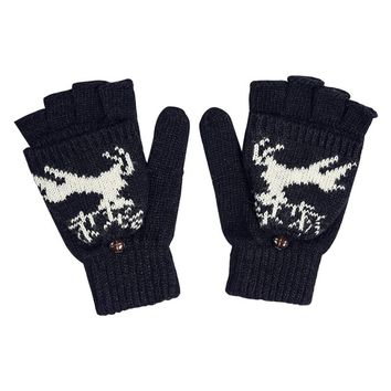 2017 Winter Gloves Warm Wool & Fine Nylon Womens Mittens Classic Deer Pattern Couples Fingerless Gloves Student Half Cover Mitts