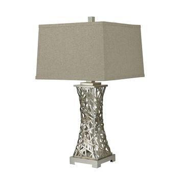 Woven Metal Thread Table Lamp in Silver Leaf