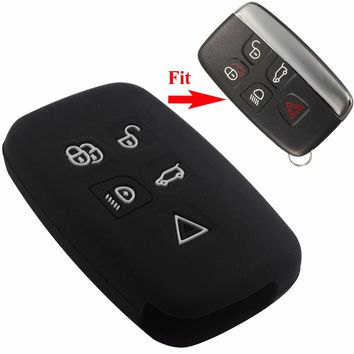 5 Button Remote Car Key FOB Cover Smart Silicone Key Case for LAND for ROVER LR4 for Range Rover Sport Evoque With L0G0