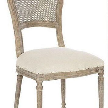 Chelsea Dining Chair in Linen| Cane Back/Burnt Oak