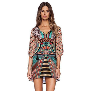 Women's Fashion Vintage Loose Square Neck Long Sleeve Bohemian Dress
