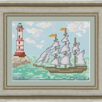 Ship -  PDF Cross Stitch Pattern - INSTANT DOWNLOAD
