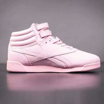 Gotopfashion Reebok Women High Help Casual Pink Leather Running Sport Shoes Sneakers  I-A-YYMY-XY