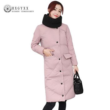 2017 New Winter Parka Women Down Cotton Quilted Coat Slim Warm Puffer Jacket Female Coats Long Single Breasted Outwear OKB91