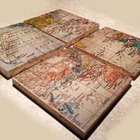 Map Coasters, Set of 4